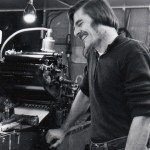 Len Fulton of Small Press Review in his print shop at Paradise, California, circa late 70s.